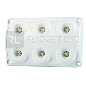 Plafonnier 6 Leds - A poser - 12/24 Volts - L 120 x l 75 x Ep 16 mm - IP65