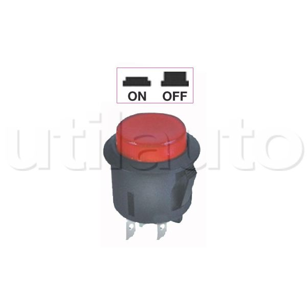 interrupteur contacteur bouton poussoir on off avec bouton lumineux en position on. Black Bedroom Furniture Sets. Home Design Ideas